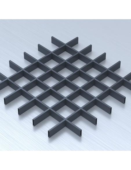 Грильято 100х100 графітовий підвісна стеля